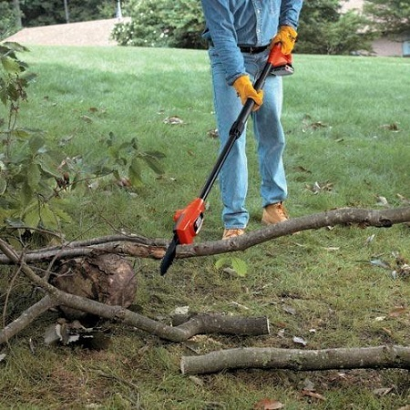 Black+Decker LPP120 Cuttin branches on ground