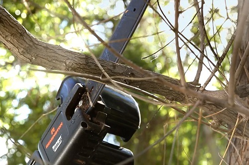 Branch cutting with pole saw
